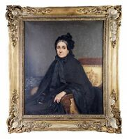 Antique French Portrait in Oil on Canvas, Frame, Artist: Eugenie Marie SALANSON