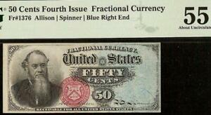 50 CENT FRACTIONAL CURRENCY STANTON NOTE OLD PAPER MONEY Fr 1376 PMG 55