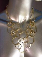 Gorgeous ARTISANAL Mat Gold Rings Bib Drape Necklace Earrings Set