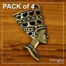 Bronze-tone Egyptian Queen charms 39mm Pack of 4 ~ Nefertiti pendant egypt face
