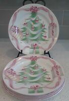 "4 Sango Home for Christmas Large Dinner Plates Stoneware 1992 #4829 10.5"""