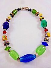 """Chunky Glass Bead Necklace 18"""" Millefiori Cobalt Blue Green Red Silver"""