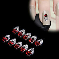 Lots 10Pc 3D Rhinestone Crystal Alloy Charm DIY Nail Art Tips Decoration Jewelry