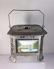 Antique Handpainted Scenic Porcelain Tile Lithophane German Oil Lamp Tea Warmer