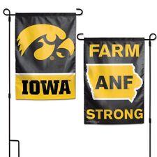 """IOWA HAWKEYES ANF FARM STRONG 12""""X18"""" 2 SIDED GARDEN FLAG NEW WINCRAFT 👀"""