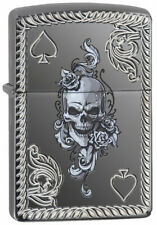 "Zippo Armor Lighter ""Skull of Spades"" No 29666 New, Slight Damage to Transit Box"
