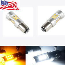 2-Pack 1157 White/Amber Switchback 28-SMD LED Turn Signal Bulbs 12v