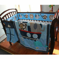 9pcs Crib Baby Bedding Set Infant Nursery Boy Boutique Comforter Bumper Cotton