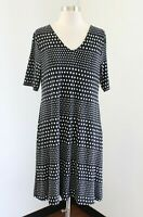 Chico's Black White Polka Dot Printed V-Neck Dress Chicos Size 0 Strappy Shift