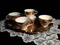 Vintage Royal China 22kt Gold Warranted Teacup & Saucer Set of 4 Golden Flowers
