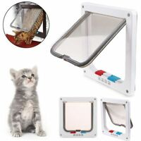 2 Colors Frame 4 Way Locking Lockable Puppy Kitten Cat Dog Flap Pet Door S M L
