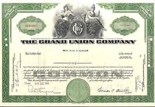 Stock certificate Grand Union Company 1962 green State of Delaware