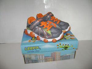 NIB Stride Rite Leepz Light Up Sneaker Boys Shoes size 7 M Summer Grey Orange