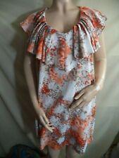Apostrophe Woman's Ruffled Neck Dress White & Multi-color Geometric Print M VGC