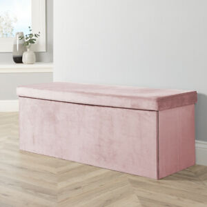 Extra Large Folding Ottoman Pink Velvet Fabric Space Saving Storage Chest Box