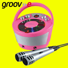 Groov-e GVPS 923PK karaoke portátil Boombox Con Reproductor de CD y la reproducción de Bluetooth