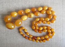 Exceptional Antique Butterscotch Egg Yolk Amber Bead Necklace 100% Natural 60.8g
