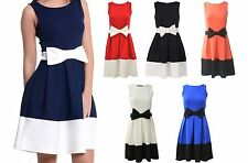 Crew Neck Skater Regular Size Sleeveless Dresses for Women