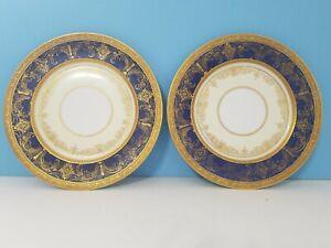 SET of 2 SELB HEINRICH & CO. PLATE 22K GOLD & BLUE BAVARIA ANTIQUE PLATES