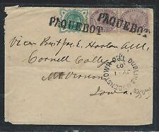 IRELAND (P0612B) 1900 QV GB USED IN, PAQUEBOT CANCEL, DUBLIN TPO TO USA