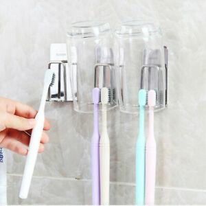 Stainless Steel Toothbrush Racks Cup Holder Bathroom Storage Hanger Wall Mounted