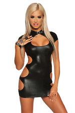 Sexy Wetlook Minikleid Lederlook schwarz Mini Kleid Clubwear Party XS S M L XL