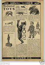 1913 PAPER AD Mechanical Toy Toys Wabbling Fritz Boy Doll Alabama Coon Jigger +