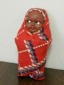 Vintage SKOOKUM Painted Bisque Native American Indian Papoose Baby Doll