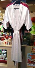 Long Satin Polyester Dressing Gown White One Size Women Ladies