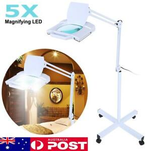 5x Magnifying Lamp 28 LED Light Magnifier Floor Stand Adjustable Beauty Salon