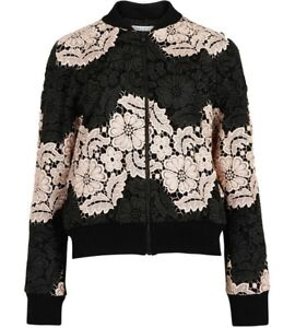 alice + Olivia Felisa Lace Bomber Jacket Floral Black Nude Size L NEW