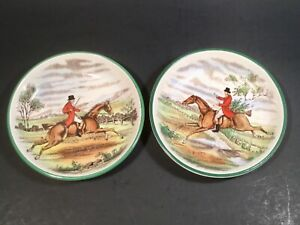 Antique Vintage Copeland Spode Dressage English Horse Riding Butter Pats Set 2