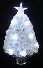 2FT White Fibre Optic Christmas Tree Xmas LED Lights 60cm With Star & Silver Pot