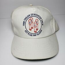 1990 Trojan Generator Crew Adjustable Leather Strapback White Hat Cap