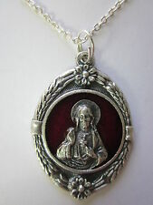 "Large Sacred Heart Medal Red Enamel Italy Pendant Necklace 20"" Chain"