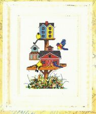 Birdie Hi-Rise-Bird Houses and Feeders-Flowers-Counted Cross Stitch Pattern