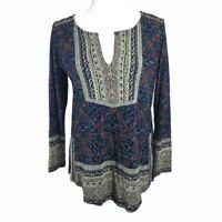 Lucky Brand Notch Neck Floral Boho Blouse Womens Small Blue Maroon Tan Tunic