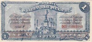 AU 1915 Mexico Toluca 1 Peso Note, Pick S881