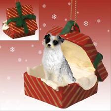 Australian Shepherd Blue Dog RED Gift Box Holiday Christmas ORNAMENT