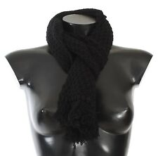 Dolce & Gabbana Scarf Black Cashmere Knitted Neck Wrap 130cm X 20cm