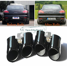 Stainless Steel Black Exhaust Tips Muffler Tail Ends For 14 Panamera 4S