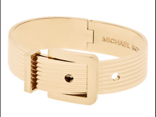Michael Kors Women's Ribbed Padlock Yellow Gold Tone Bangle Bracelet MKJ6197710