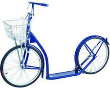 "16"" Amish Kick Scooter ~ Blue Foot Bike w/ Basket & Brakes Made in the Usa"