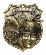POLICE SHIELD CAST PLAQUE SHADOWBOX MOUNT FAST SHIPPING