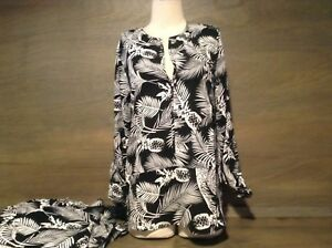 Lumiere Women's Black White Palm V-Neck Career Casual Blouse Top Size S M L NEW