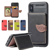 Lonely Leaf Clip Phone Card Slot PU Leather Wallet Case For Apple iPhone X/8/7/6