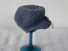 CROCHETED BABY BOY FLAT CAP - NEWBORN/SMALL BABY IN MID BLUE FLECKED YARN