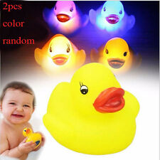 2PCS Rubber Duck Flashing Light Color Toy Baby Bathroom LED Lamp Color Random
