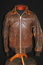 Very Rare Vintage 1940'S Wwii Anan 6522-Aan-J-A5 Leather Flight Jacket Size 38