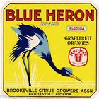 Brooksville Florida Blue Heron Bird #2 Orange Citrus Fruit Crate Label Art Print